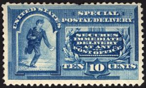 #E2 10c Blue Special Delivery 1888 VF MLH Fresh CV 500+ Rare Stamp