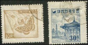 Korea SC# 202A & 203 (set) Moth & Flag 10h used  & Temple 30h  Used
