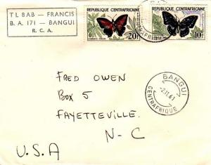 French Equatorial Africa Central African Republic 10F and 20F Butterfly 1961 ...