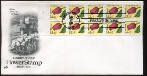 1991 Washington DC Change of Rate Tulip Flower Stamp Booklet First Day Cover