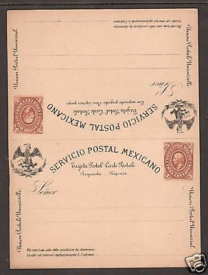 Mexico H&G 14 unused 3c brown Hildago Postal Reply Double Card