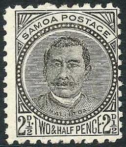Samoa SG81 2 1/2d Black Perf 10 x 11 M/M Cat 3.25 pounds