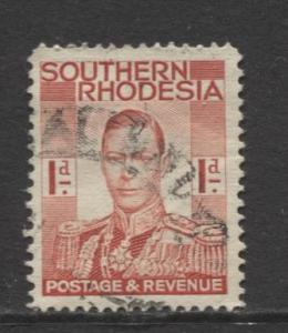 Southern Rhodesia- Scott 43 - KGVI - Definitive -1937 - FU- Single 1d Stamp
