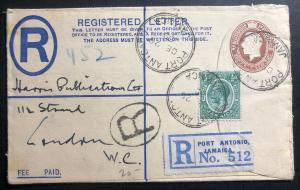 1932 Port Antonio Jamaica Registered Letter Cover To London England