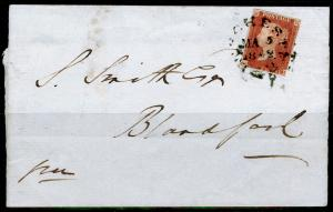 SG8, 1d red-brown,  USED. Cat £3000. TOWN POSTMARK. ON COVER.