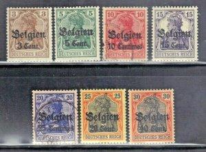 BELGIUM SC# N11,12,14,16,17,18,19 MH & USED 1916-18    SEE SCAN