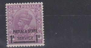 PATIALA  1939 - 40      S G   069  1A ON 1A 3P  MAUVE  MH