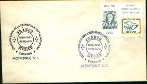 MEXICO 1242, CACHETED FDC 150th Anniversary of the First Mexican Stamp VF
