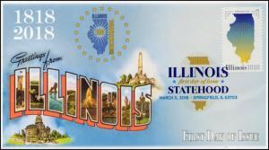 18-054, 2018, Illinois Statehood, Digital Color Postmark, FDC