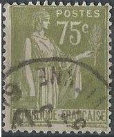 France 272 (used) 75c Peace with olive branch, ol grn (1932)