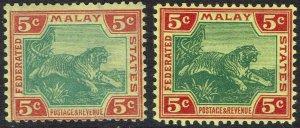 FEDERATED MALAY STATES 1904 TIGER 5C - 2 SHADES WMK MULTI CROWN CA