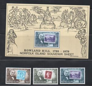 Norfolk Island Sc 246-8,248a 1979 Sir Rowland Hill stamp set & sheet mint NH