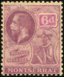 Montserrat SC# 68 KGV 6d wmk 4 mint no gum