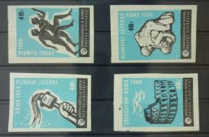Match Box Labels ! sport olympic games roma 1960 colosseum running race GN35