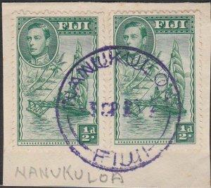 FIJI 1953? GVI ½d(2) on piece NANUKULOA cds in violet.......................L528