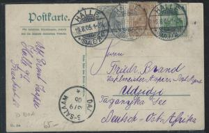 GERMAN EAST AFRICA (P2609B) 1905 INCOMING PPC FROM GERMANY TO UDJIDJI