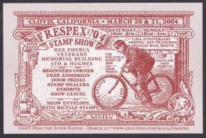 Post Card Showing a Bicycle Messenger, Frespex 04 Philatelice Exhibition