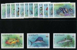 Gilbert & Ellice Is - Kiribati 1990 QEII Fishes set complete MNH. SG 326-340.