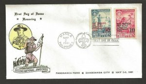 1961 Boy Scouts Philippines 2nd Jamboree FDC Pasananca Park cancel 4