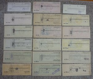 Yugoslavia Serbia 18 Bills Of Exchange-Imprinted Revenue Stamps-Banknotes Money