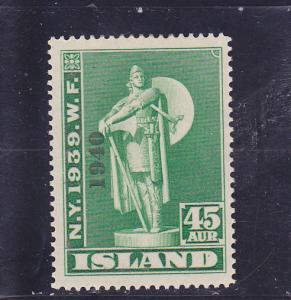 Iceland  Scott#  234  MLH  (1940 Overprint)