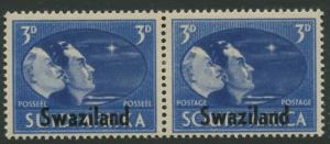 Swaziland -Scott 40 - Victory Overprint - 1945 - MLH - Pair of 3p Stamp