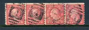Scott 491 Washington Used Coil Strip of 4 Stamps w/APS Cert (Stock: 491-1)