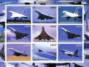 Congo 2002 Concorde Sheet (9) Perforated mnh.vf