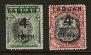 Malaya S. Setts. Labuan 1899 SG 102,103 MH