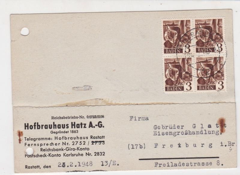 Baden 1948 Metal Materials Order for Freiburg Ironworks Stamps Card ref R 19137