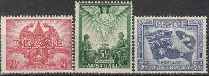 Stamp Australia Sc 200-2 1945 WWII Peace Victory Set Dove Angel Wreath MNH