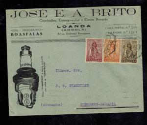 1937 Luanda Angola Cover to Nuremburg Germany Advertising Jose Brito