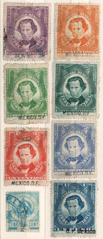 (I.B) Mexico Revenue : Duty Stamp Collection (1881)