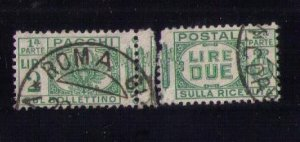 ITALY Scott #Q32 Back of Book used Complete Pair Seperated Center F-VF