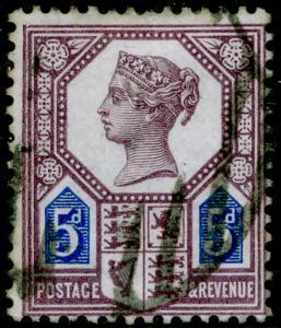 SG207, 5d dull purple & blue, DIE I, USED, CDS. Cat £120.