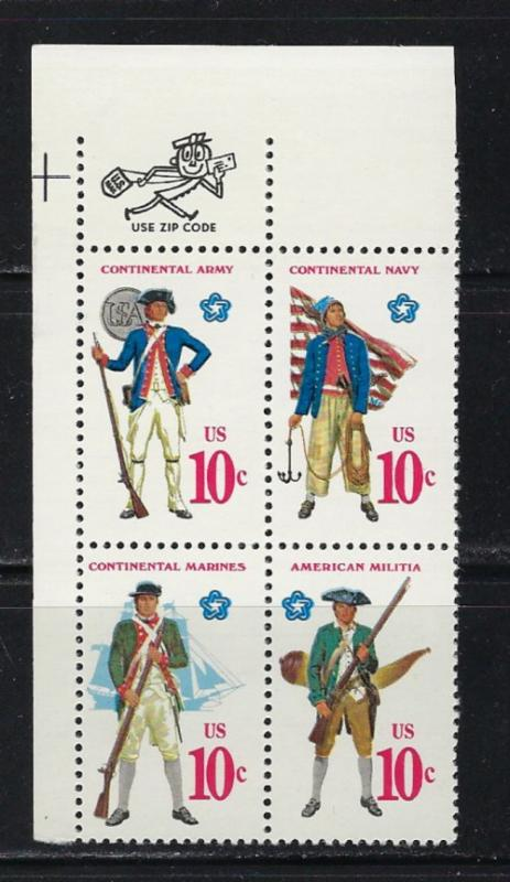 U.S. 1568a NH 1975 Continental Soldiers Zip Block