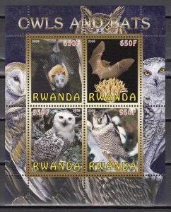 Rwanda, 2009 Cinderella issue. Bats and Owls, sheet of 4.