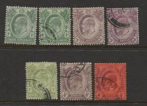 Straits Settlements #109-112 KEVII M/U 1902 Wmk 3 CV$12.00.