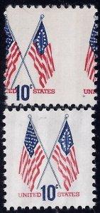 1509 - 10c HUGE Misperf Error / EFO Crossed Flags Mint NH Read