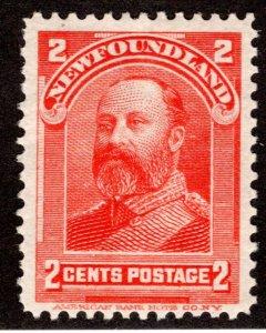 73, NSSC, Newfoundland, 2¢ Edward VII, vermilion, MLHOG, F/VF