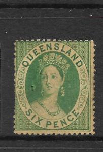QUEENSLAND 1860  6d  GREEN   QV     MLH    SG 6
