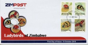 Zimbabwe 2018 FDC Ladybirds Ladybugs 4v Set Cover Insects Beetles Stamps