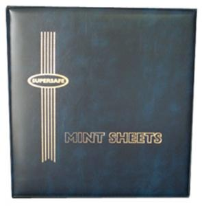 Supersafe Deluxe Mint Sheet File Album / Book 100 Sheet Capacity BLUE