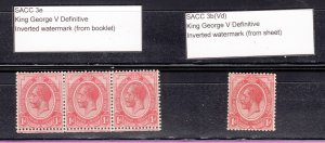 J28420 1913-24 south africa mh strip/3 etc, #3 with inverted wmk,s king