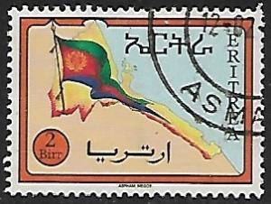Eritrea # 228 Flag & Map of Eritrea - used  -{BR17}