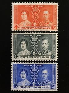 Malaya Straits Settlements 1937 KGVI Coronation Mint SG#275-277 M2143