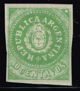 ARGENTINA STAMP 1862 Coat of Arms - REPUBLICA - Accent on U 10 MH/OG REPRINT