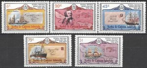Turks & Caicos 391-5  Perf 12  MNH   Rowland Hill From Sheet
