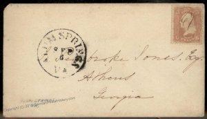 Virginia 1861 1867 Alum Springs VA DPO Cancel Helbock R5 Cover Civil War 92400