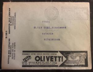 1936 Bruxelles Belgium Advertising Cover Olivetti Writing Machine Postal Check